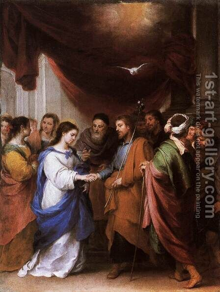 Marriage of the Virgin by Bartolome Esteban Murillo - Reproduction Oil Painting