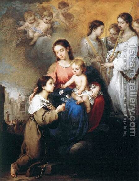 Virgin and Child with St Rosalina of Palermo by Bartolome Esteban Murillo - Reproduction Oil Painting