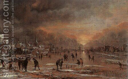Sports on a Frozen River 3 by Aert van der Neer - Reproduction Oil Painting
