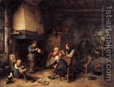 Peasants in an Interior by Adriaen Jansz. Van Ostade - Reproduction Oil Painting
