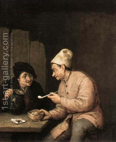 Piping and Drinking in the Tavern 2 by Adriaen Jansz. Van Ostade - Reproduction Oil Painting