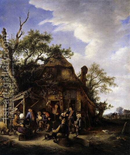 Merry Peasants 2 by Adriaen Jansz. Van Ostade - Reproduction Oil Painting
