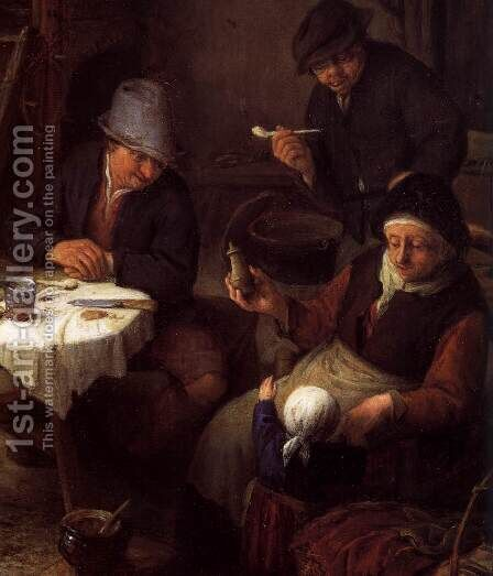 Peasant Family in a Cottage Interior (detail) by Adriaen Jansz. Van Ostade - Reproduction Oil Painting