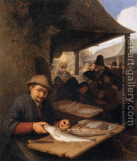 The Fish Market by Adriaen Jansz. Van Ostade - Reproduction Oil Painting