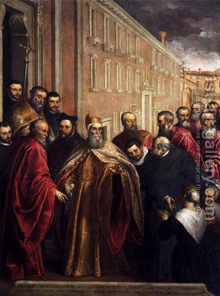 Pasquale Cicogna in Dogal Robes Visiting the Church and Hospital of the Crocifer by Jacopo d'Antonio Negretti (see Palma Giovane) - Reproduction Oil Painting