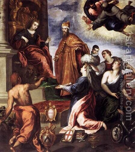Doge Francesco Venier Presents the Subject Cities to Venice by Jacopo d'Antonio Negretti (see Palma Giovane) - Reproduction Oil Painting