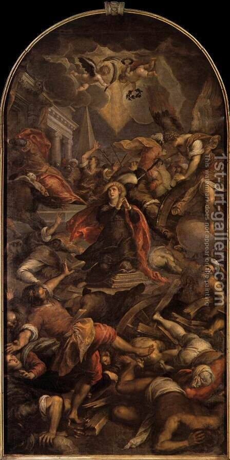 Martyrdom of St Catherine of Alexandria by Jacopo d'Antonio Negretti (see Palma Giovane) - Reproduction Oil Painting