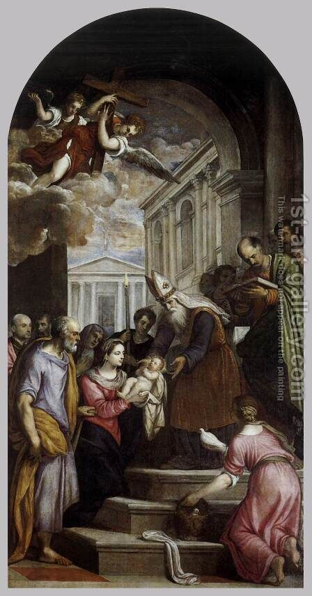 Presentation of Jesus in Temple by Jacopo d'Antonio Negretti (see Palma Giovane) - Reproduction Oil Painting
