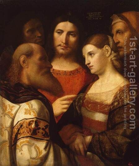 Christ and the Woman Taken in Adultery by Jacopo d'Antonio Negretti (see Palma Vecchio) - Reproduction Oil Painting