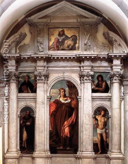 Polyptych of St Barbara by Jacopo d'Antonio Negretti (see Palma Vecchio) - Reproduction Oil Painting