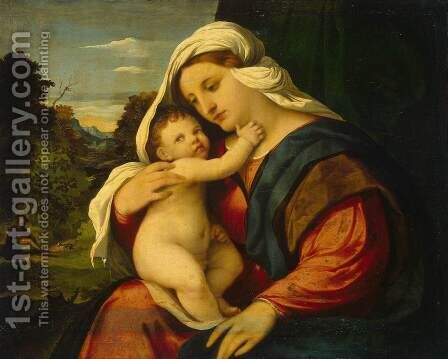 Madonna and Child 2 by Jacopo d'Antonio Negretti (see Palma Vecchio) - Reproduction Oil Painting