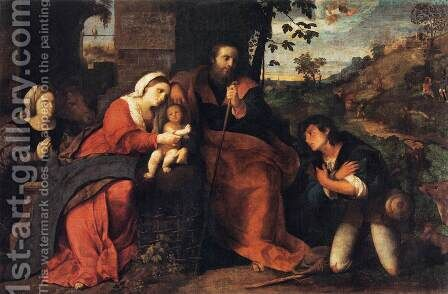 Adoration of the Shepherds with a Doonor by Jacopo d'Antonio Negretti (see Palma Vecchio) - Reproduction Oil Painting