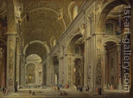 Interior of St Peter's in Rome by Giovanni Paolo Pannini - Reproduction Oil Painting