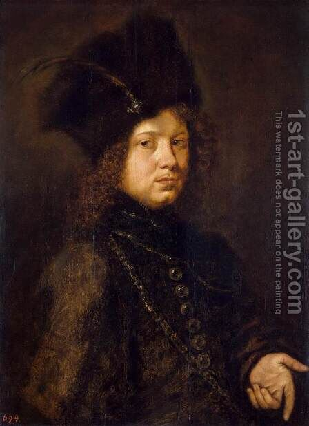 Portrait of a Young Man in a Fur Hat by Christoph Paudiss - Reproduction Oil Painting