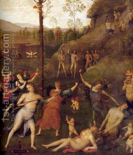 Combat of Love and Chastity (detail) 2 by Alvaro Di Pietro (Pirez D'Évora) - Reproduction Oil Painting