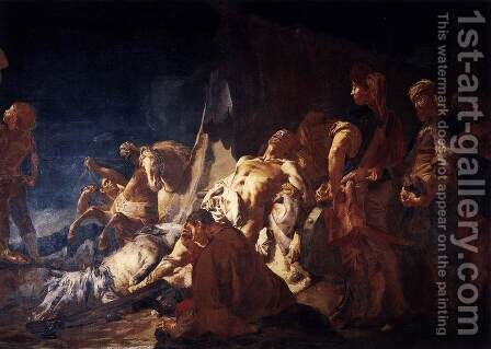 The Death of Darius by Giovanni Battista Piazzetta - Reproduction Oil Painting