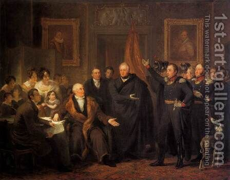 The Triumvirate Assuming Power on behalf of the Prince of Orange, 21 November 18 by Jan Willem Pieneman - Reproduction Oil Painting