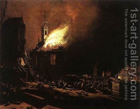 The Explosion of the Delft Magazine 2 by Egbert van der Poel - Reproduction Oil Painting