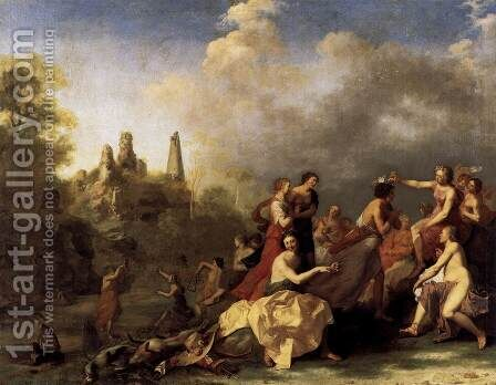 Amaryllis Giving Myrtill the Price by Cornelis Van Poelenburgh - Reproduction Oil Painting