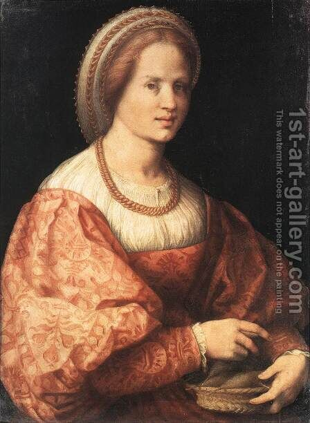 Lady with a Basket of Spindles by (Jacopo Carucci) Pontormo - Reproduction Oil Painting