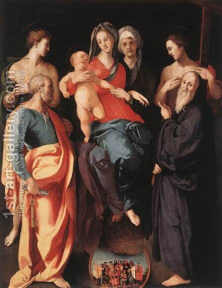 Madonna and Child with St Anne and Other Saints by (Jacopo Carucci) Pontormo - Reproduction Oil Painting