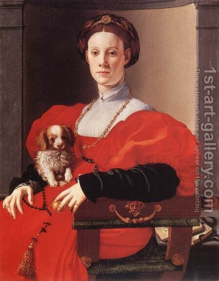 Portrait of a Lady in Red by (Jacopo Carucci) Pontormo - Reproduction Oil Painting