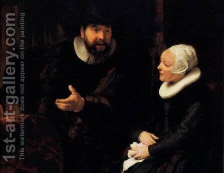 The Mennonite Minister Cornelis Claesz. Anslo in Conversation with his Wife, Aal by Rembrandt - Reproduction Oil Painting