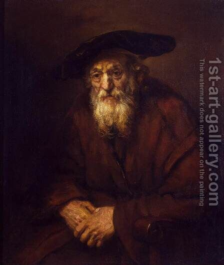 Portrait of an Old Jew by Rembrandt - Reproduction Oil Painting