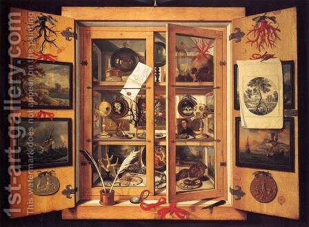 Cabinet of Curiosities by Domenico Remps - Reproduction Oil Painting