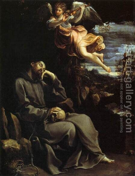 St Francis Consoled by Angelic Music by Guido Reni - Reproduction Oil Painting
