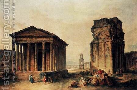 Ruins at Nimes by Hubert Robert - Reproduction Oil Painting