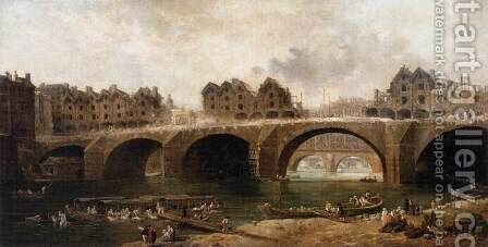 Demolition of the Houses on the Pont Notre-Dame in 1786 by Hubert Robert - Reproduction Oil Painting