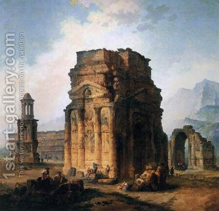 The Arc de Triomphe and the Theatre of Orange by Hubert Robert - Reproduction Oil Painting