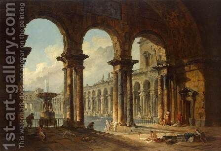 Ancient Ruins Used as Public Baths by Hubert Robert - Reproduction Oil Painting