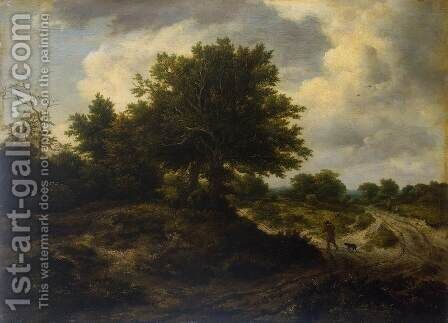 Landscape with a Traveller by Jacob Van Ruisdael - Reproduction Oil Painting