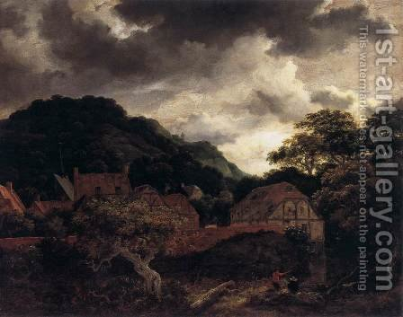 Village at the Wood's Edge by Jacob Van Ruisdael - Reproduction Oil Painting