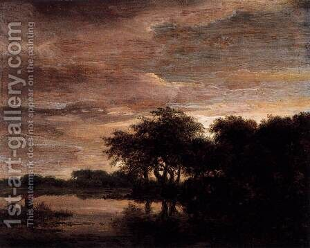 Woodland Scene with Lake by Jacob Van Ruisdael - Reproduction Oil Painting