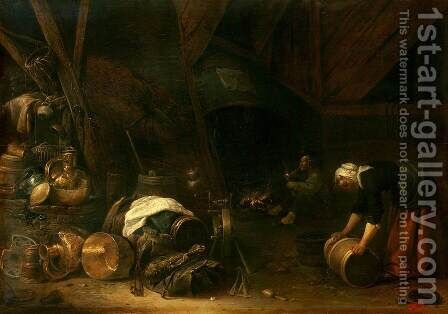Interior of a Peasant Hut by Herman Saftleven - Reproduction Oil Painting