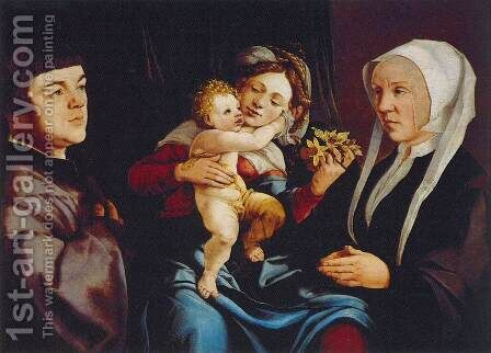 Madonna of the Daffodils with the Child and Donors by Jan Van Scorel - Reproduction Oil Painting