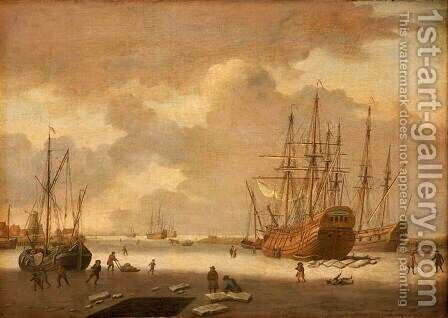 A Dutch Whaler and Other Vessels in the Ice by Adam Silo - Reproduction Oil Painting