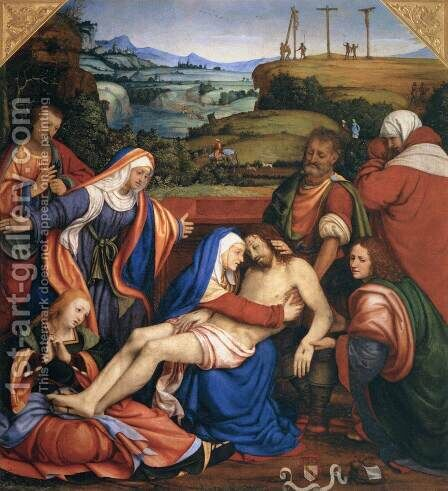 Lamentation over the Dead Christ by Andrea Solari - Reproduction Oil Painting