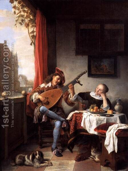 The Lute Player by Hendrick Maertensz. Sorch (see Sorgh) - Reproduction Oil Painting