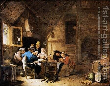 Interior with Peasants Playing Cards 2 by Hendrick Maertensz. Sorch (see Sorgh) - Reproduction Oil Painting