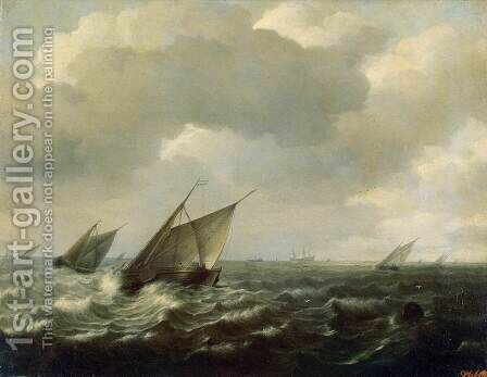Sailing Vessels in a Strong Wind by Hendrick Maertensz. Sorch (see Sorgh) - Reproduction Oil Painting