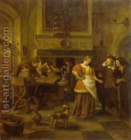 Tavern Scene by Jan Steen - Reproduction Oil Painting