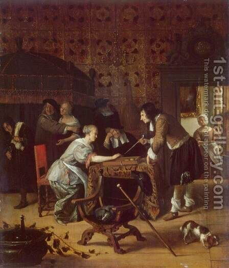 Tric-Trac Players by Jan Steen - Reproduction Oil Painting