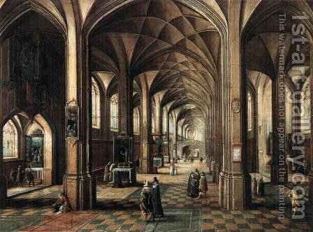 Interior of a Church with a Family in the Foreground by Hendrick van, the Younger Steenwyck - Reproduction Oil Painting