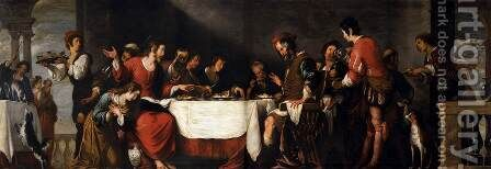 Banquet at the House of Simon 2 by Bernardo Strozzi - Reproduction Oil Painting