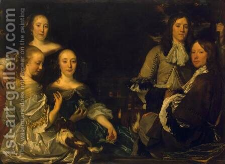 Family Portrait by Abraham van den Tempel - Reproduction Oil Painting