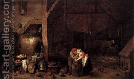 The Old Man and the Maid by David The Younger Teniers - Reproduction Oil Painting